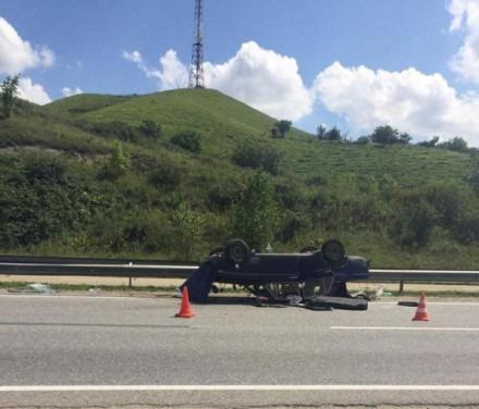 В Предгорном районе водитель уснул за рулем и перевернул авто