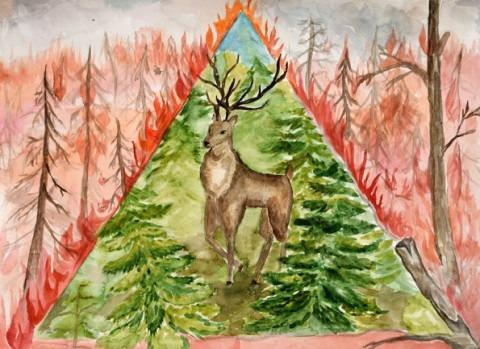 Олень в лесу. Сорокина Анастасия