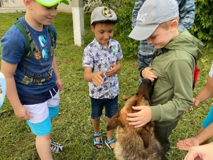 Дети, кинологи и собака